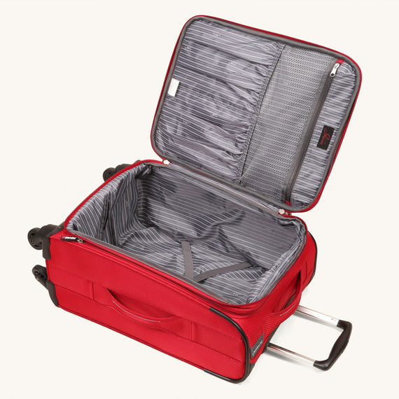 Carry-On Skyway Luggage 20-inch Carry-On Spinner Luggage in Formula One Red in  in Color:Formula One Red in  in Description:Opened