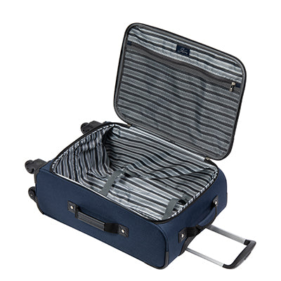 Carry-On Epic 20-inch Carry-On Suitcase in Blue Open View in  in Color:Surf Blue in  in Description:Opened