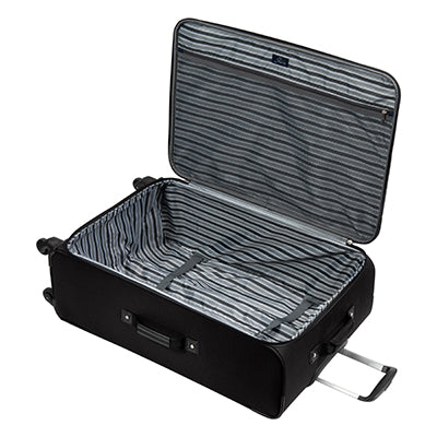 Large Check-In Epic 28-inch Check-In Suitcase in Black Open View in  in Color:Black in  in Description:Opened