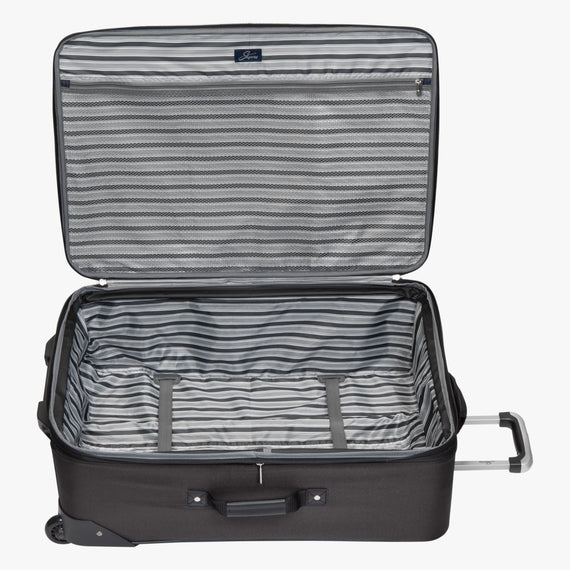 2-Wheel Large Check-In Epic 2-wheel 28-inch Check-in Suitcase in Black Open View in  in Color:Black in  in Description:Opened