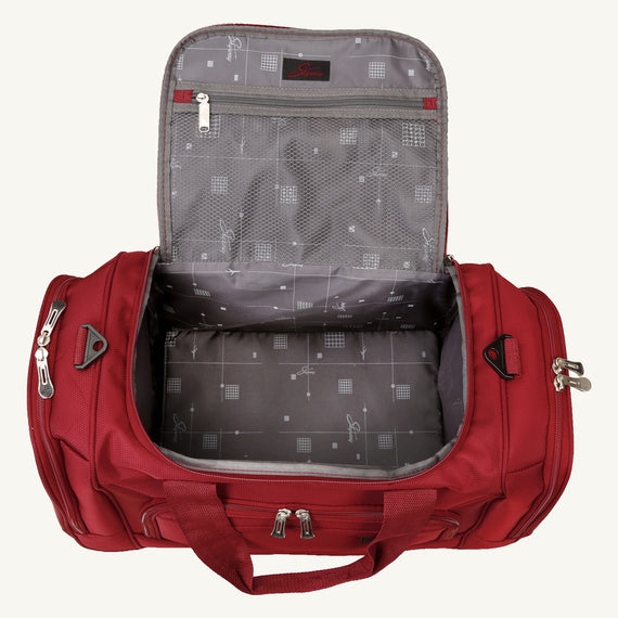 Weekender Travel Duffel Skyway Luggage 22-inch Duffel in Merlot Red in  in Color:Merlot Red in  in Description:Opened