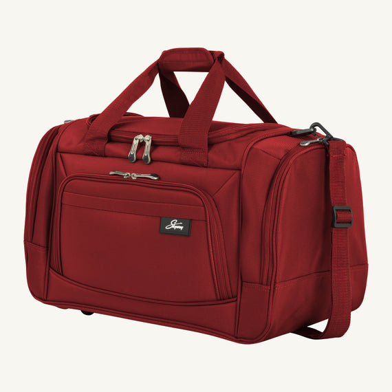 Weekender Travel Duffel Skyway Luggage 22-inch Duffel in Merlot Red in  in Color:Merlot Red in  in Description:Angled View