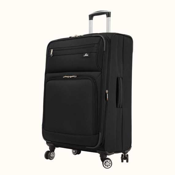 Medium Check-In Skyway Luggage 25-inch Spinner Luggage in Black in  in Color:Black in  in Description:Angled View