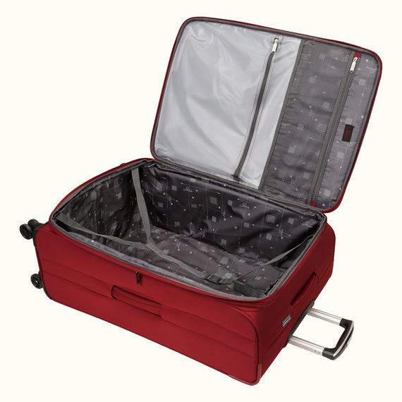 Large Check-In Skyway Luggage 29-inch Spinner Luggage in Merlot Red in  in Color:Merlot Red in  in Description:Opened