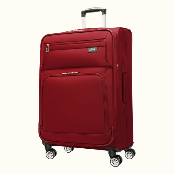 Large Check-In Skyway Luggage 29-inch Spinner Luggage in Merlot Red in  in Color:Merlot Red in  in Description:Angled View