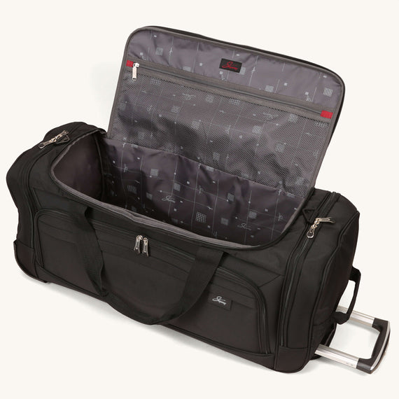 Large Rolling Duffel Skyway Luggage 30-inch Rolling Duffel in Black in  in Color:Black in  in Description:Opened