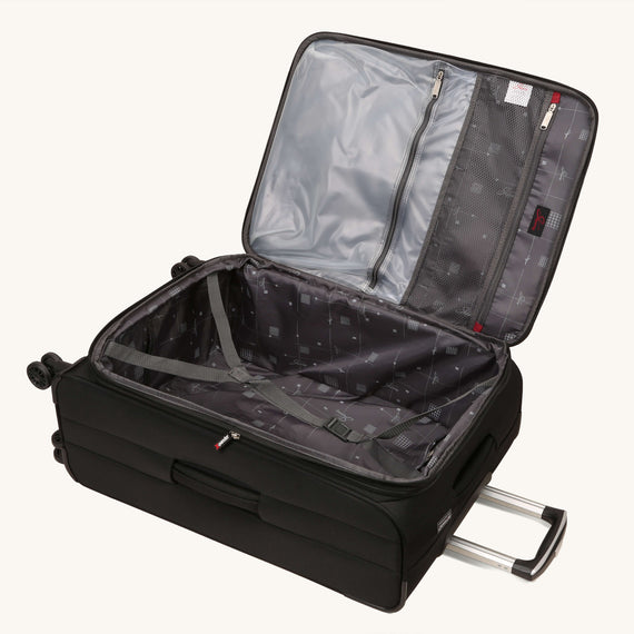 Medium Check-In Skyway Luggage 25-inch Spinner Luggage in Black in  in Color:Black in  in Description:Opened