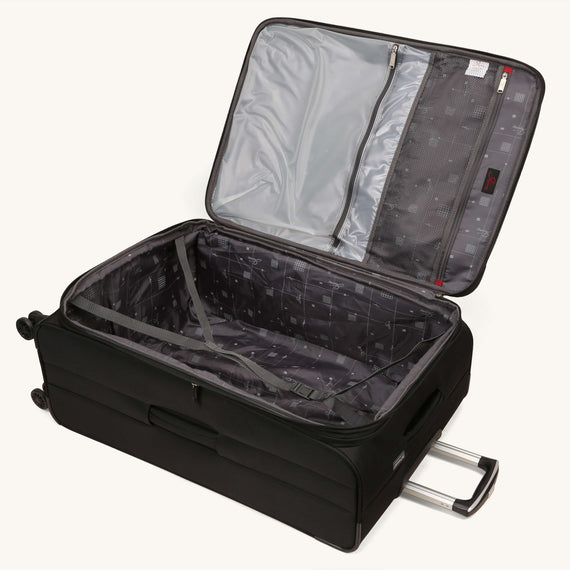 Large Check-In Skyway Luggage 29-inch Spinner Luggage in Black in  in Color:Black in  in Description:Opened