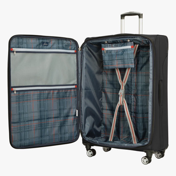 Large Check-In Sigma 6.0 28-inch Check-In Suitcase in Black Open View in  in Color:Black in  in Description:Opened