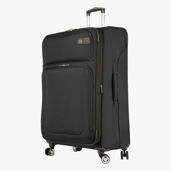 Large Check-In Sigma 6.0 28-inch Check-In Suitcase in Black Quarter Front View in  in Color:Black in  in Description:Angled View