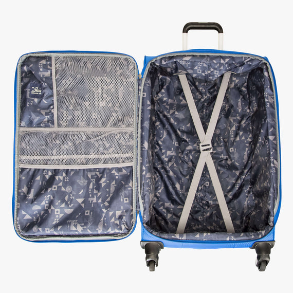 Medium Check-In Skyway Luggage 24-Inch Spinner Suitcase in Blue Royal in  in Color:Blue Royal in  in Description:Opened