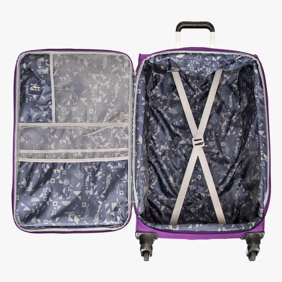 Medium Check-In Mirage 2.0 24-inch Check-in Suitcase in Purple Open View in  in Color:Purple Magic in  in Description:Opened