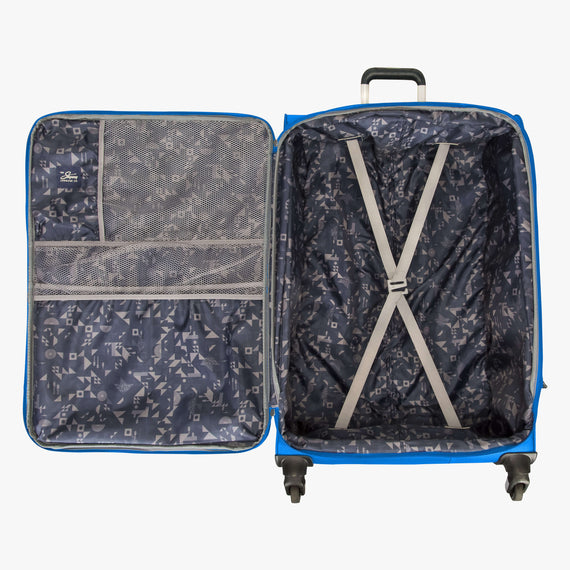 Large Check-In Skyway Luggage 28-inch Spinner Luggage in Blue Royal in  in Color:Blue Royal in  in Description:Opened