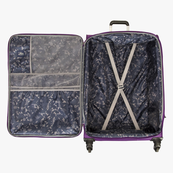Large Check-In Mirage 2.0 28-inch Check-in Suitcase in Purple Open View in  in Color:Purple Magic in  in Description:Opened