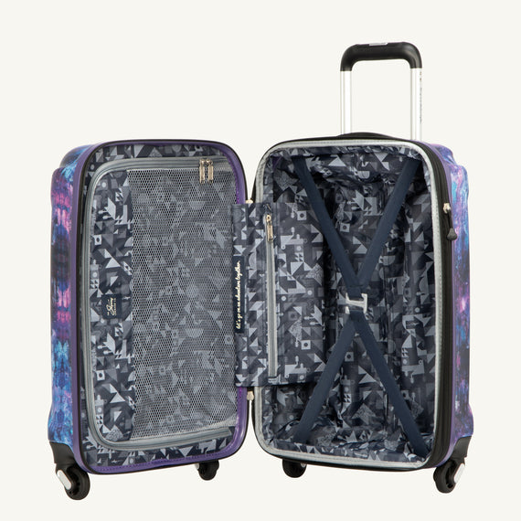 Carry-On Skyway Luggage 20-inch Spinner Carry-On Suitcase Opened View in Purple Cosmo in  in Color:Purple Cosmo in  in Description:Opened