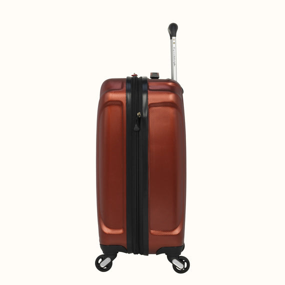 Carry-On Skyway Luggage 20-inch Spinner Carry-On Suitcase in Cranberry in  in Color:Cranberry in  in Description:Side