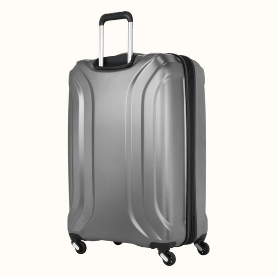 Large Check-In Skyway Luggage 28-inch Spinner Luggage in Silver in  in Color:Silver in  in Description:Back Angle