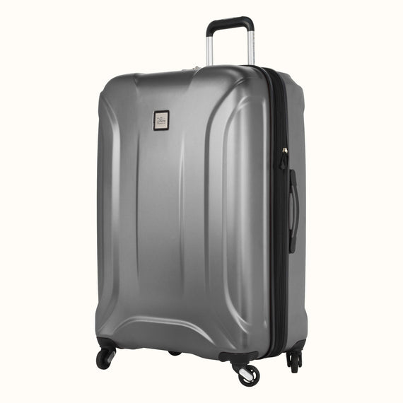 Large Check-In Skyway Luggage 28-inch Spinner Luggage in Silver in  in Color:Silver in  in Description:Angled View