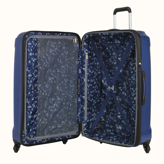 Large Check-In Skyway Luggage 28-inch Spinner Luggage in Cobalt Blue in  in Color:Cobalt Blue in  in Description:Opened