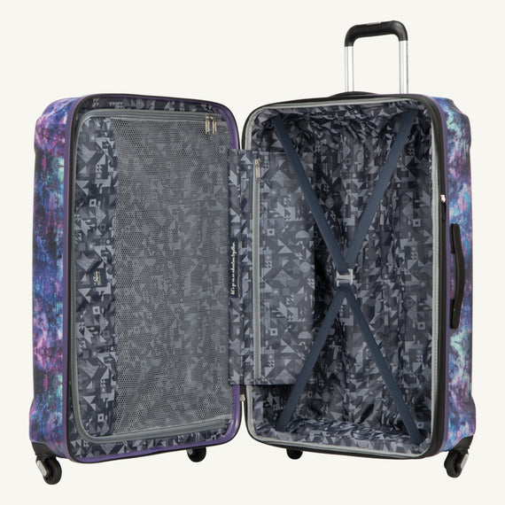 Large Check-In Skyway Luggage 28-inch Spinner Luggage in Purple Cosmo in  in Color:Purple Cosmo in  in Description:Opened