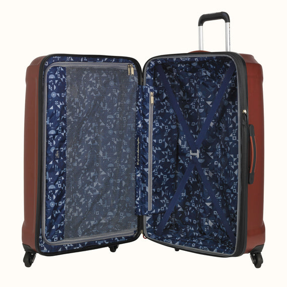 Large Check-In Skyway Luggage 28-inch Spinner Luggage in Cranberry in  in Color:Cranberry in  in Description:Opened