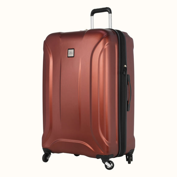 Large Check-In Skyway Luggage 28-inch Spinner Luggage in Cranberry in  in Color:Cranberry in  in Description:Angled View