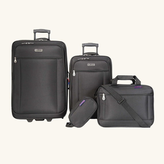 4-Piece Luggage Set Skyway Luggage Hudson 4-Piece Luggage Set in Black in  in Color:Black in  in Description:Front