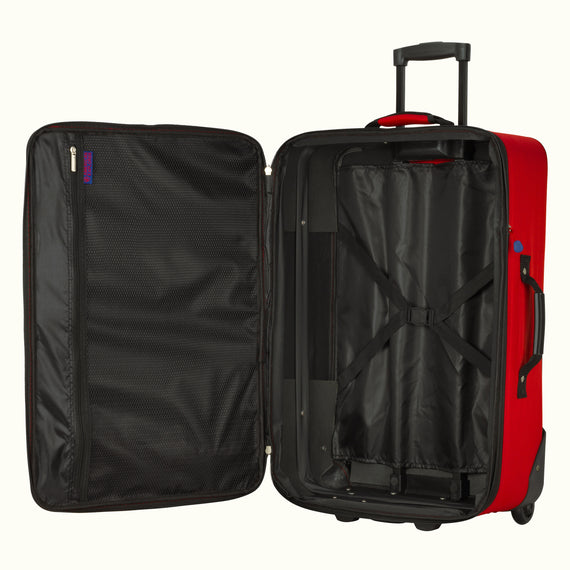 4-Piece Luggage Set Skyway Luggage Hudson 4-Piece Luggage Set in True Red in  in Color:True Red in  in Description:Opened