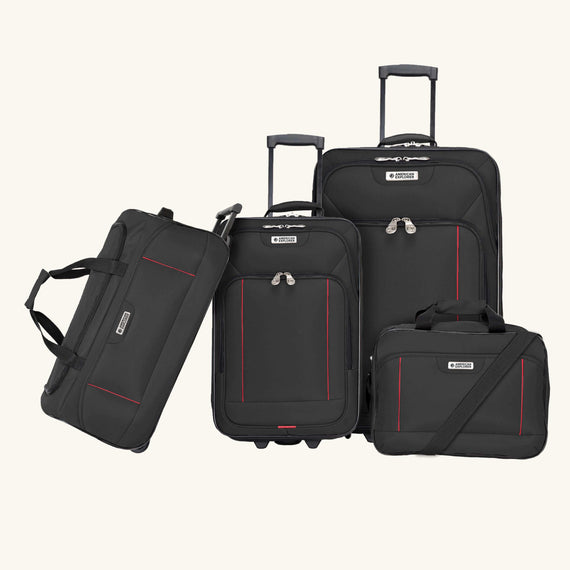 4-Piece Luggage Set Skyway Luggage Columbus 4-Piece Luggage Set in Black in  in Color:Black in  in Description:Front