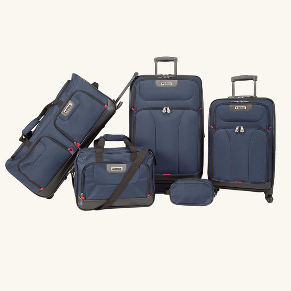 5-Piece Luggage Set Skyway Luggage Drake 5-Piece Luggage Set in Navy Blue in  in Color:Navy Blue in  in Description:Front