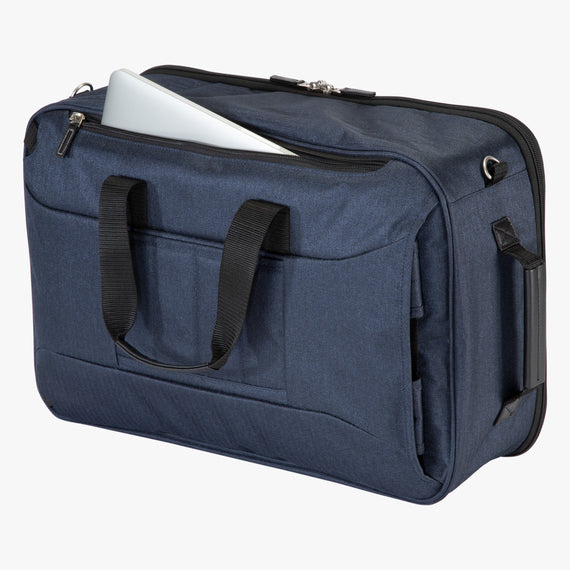 4-Way Convertible Carry-On Eastlake Four-Way Carry On in Dark Blue Open Detail View in  in Color:Dark Blue in  in Description:Open Detail