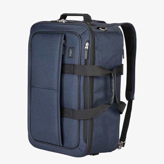 4-Way Convertible Carry-On Eastlake Four-Way Carry On in Dark Blue Quarter Front View in  in Color:Dark Blue in  in Description:Angled View
