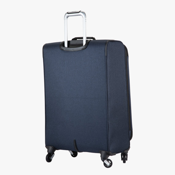 Medium Check-In Eastlake 25-inch Medium Check-in in Dark Blue Angled Back View in  in Color:Dark Blue in  in Description:Back Angle