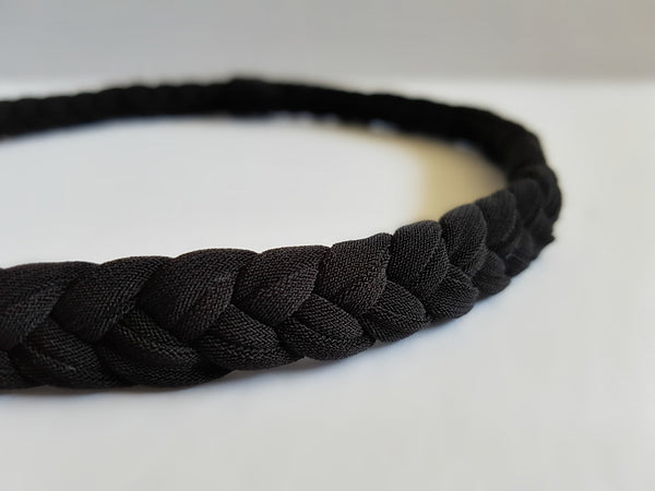 Braided Workout Headband in Black