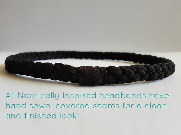 Braided Workout Headband in Black | Back | Nautically Inspired