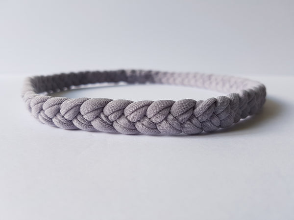 Braided Workout Headband for Women in Grey | Front | Nautically Inspired
