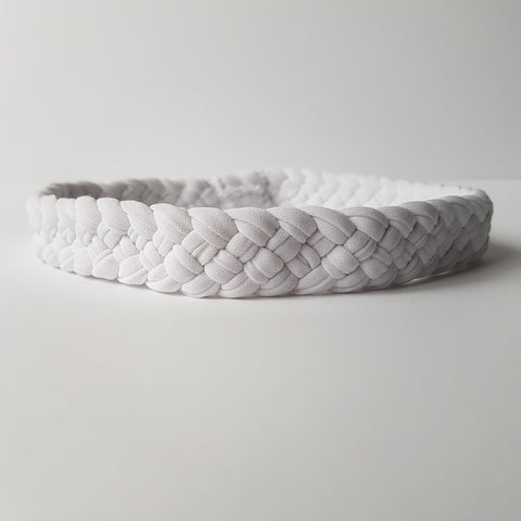 Weaved Stretchy Headband in White | Nautically Inspired