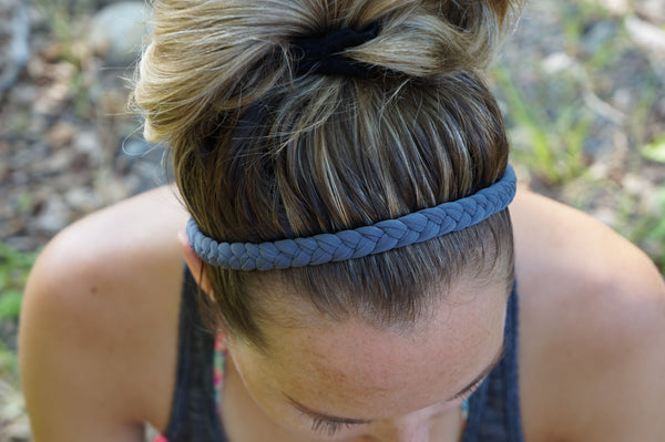 Women's Braided Workout Headband in Grey | Nautically Inspired