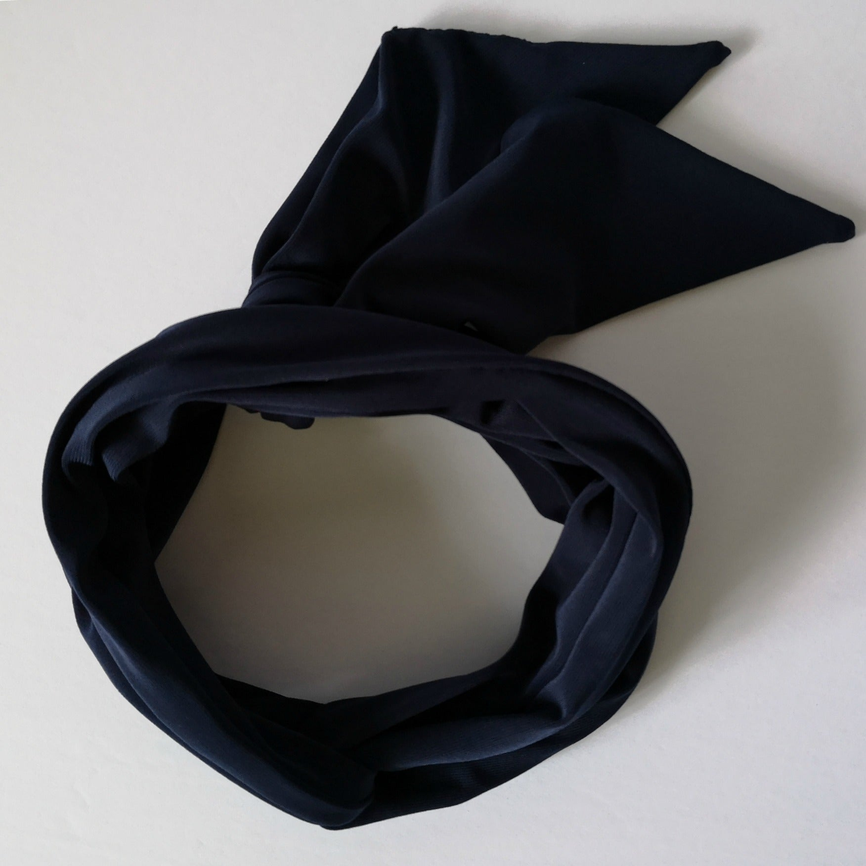 Long Headband Hair Scarf in Navy Blue