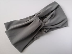 Twist Turban Headband in Stone Grey