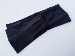 Twist Turban Headband in Navy Blue