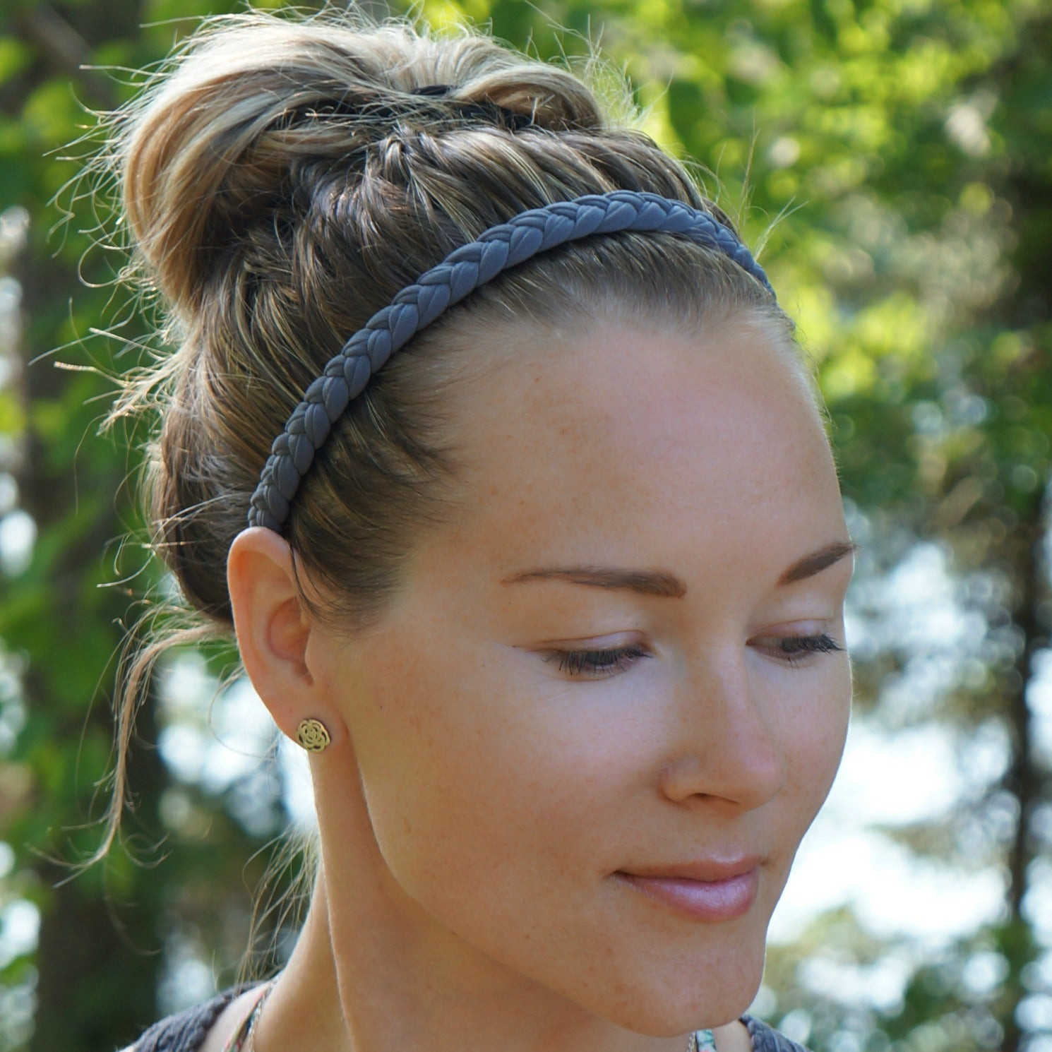 Braided Workout Headband in Slate Grey