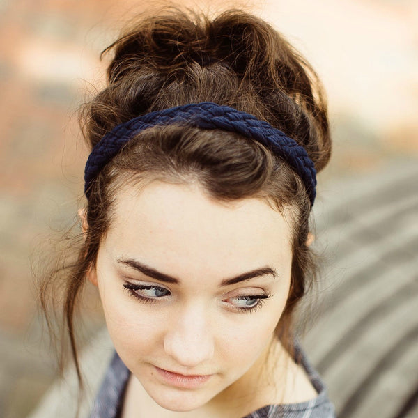 Weaved Headband in Navy Blue