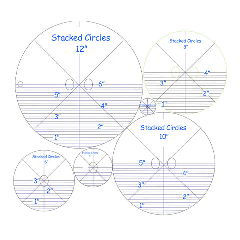 Image of 6 Stacked Circles- Longarm - 1/4 Inch Thick