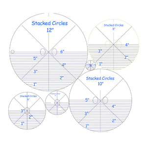 6 Stacked Circles- Longarm - 1/4 Inch Thick
