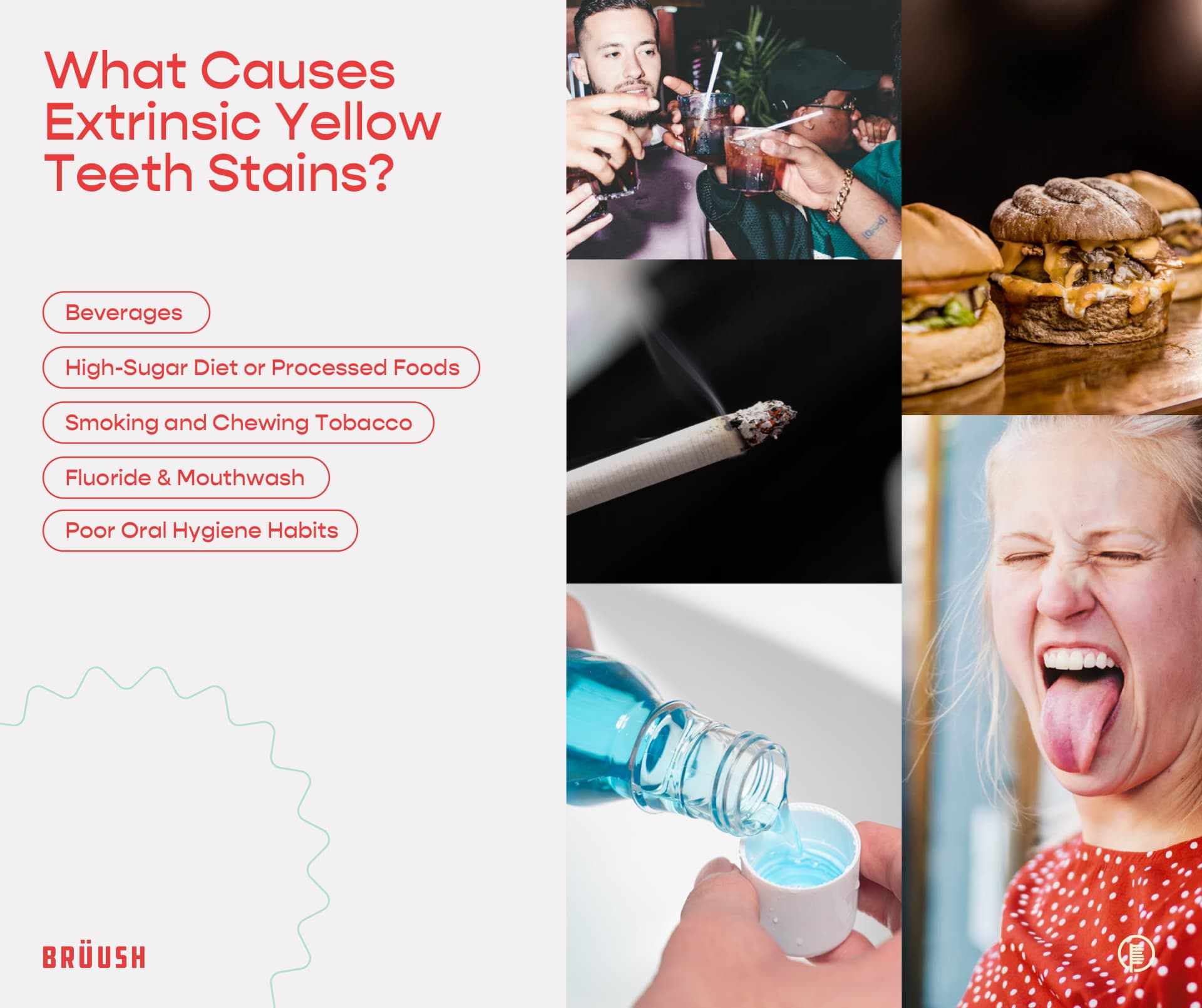 list of the reasons that cause yellow teeth stains