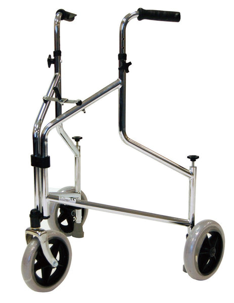 Roma Steel 3 Wheel Walker - Chrome with Pressure Brakes & Bag