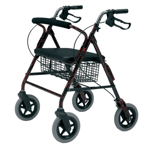 Roma Heavy Duty Aluminium Rollator - Red