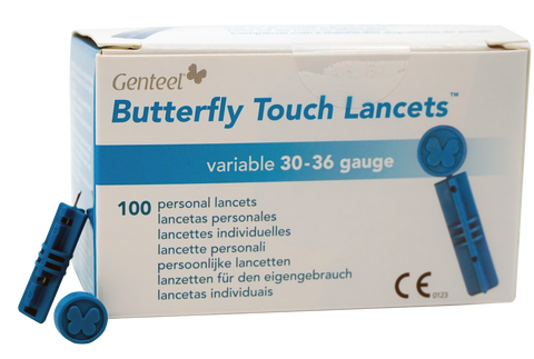 Butterfly Touch Lancets in and out of the box