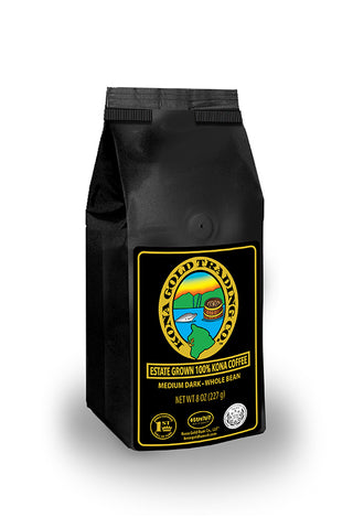Kona Gold Coffee Whole Beans - 8 oz, by Kona Gold Rum Co. - Medium/Dark Roast Extra Fancy - 100% Kona Coffee